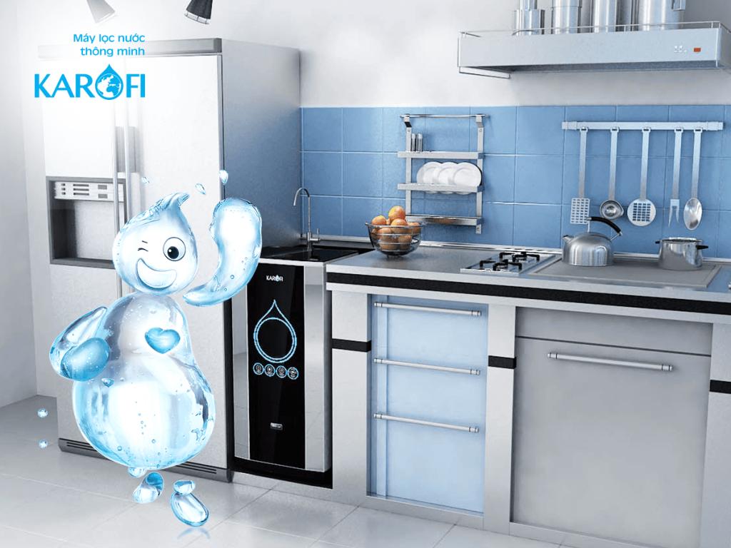 Máy lọc nước tủ IQ đặt trong bếp