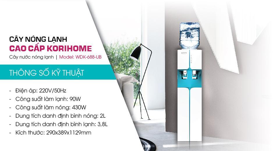 Thông số Cây nước nóng lạnh KoriHome WDK 688UP