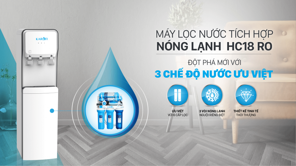 Cây nước nóng lạnh tích hợp lọc nước RO Karofi HC18RO