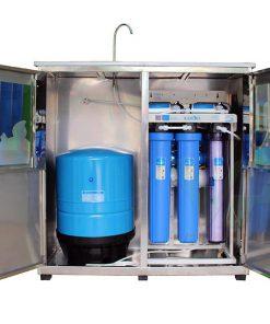 Hình ảnh thực tế máy lọc nước Karofi bán công nghiệp có tủ inox