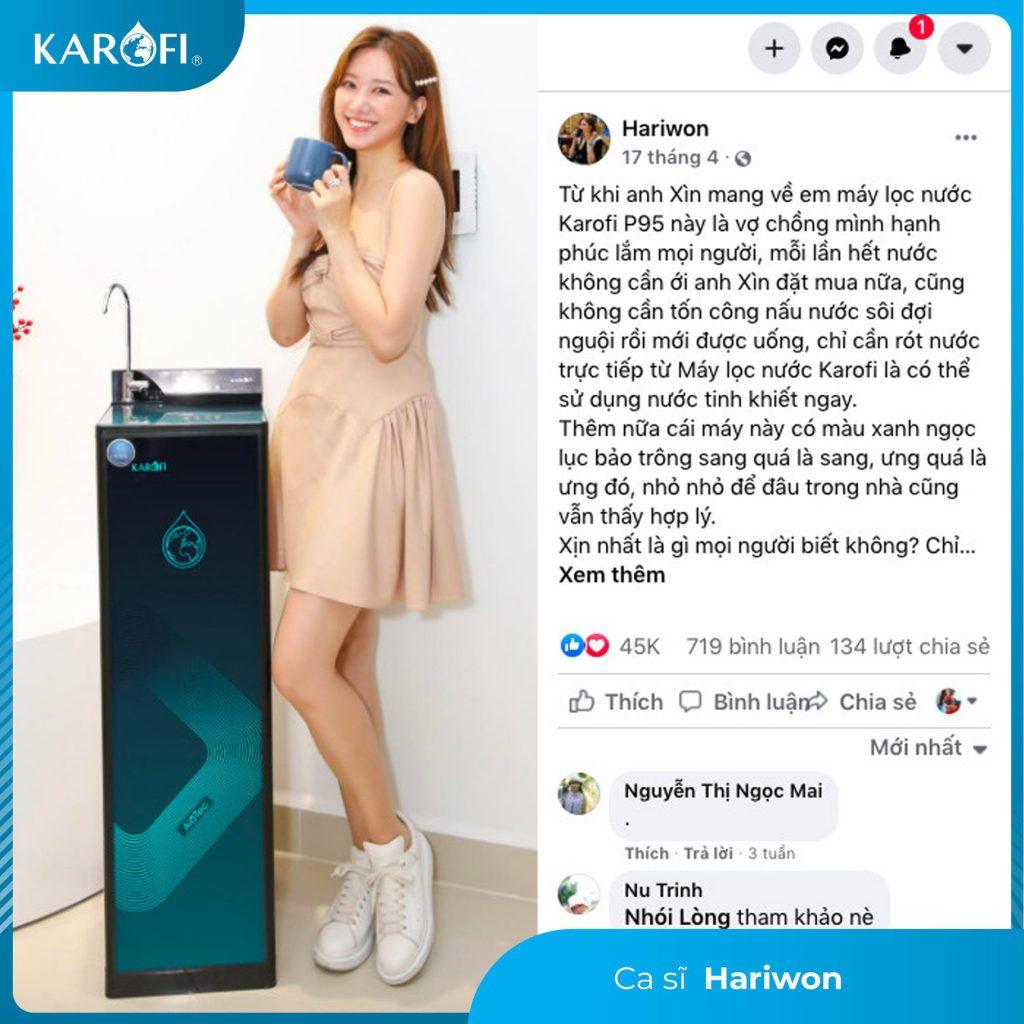 Ca sĩ, MC Hari Won tin dùng sản phẩm Máy lọc nước Karofi KAQ-P95