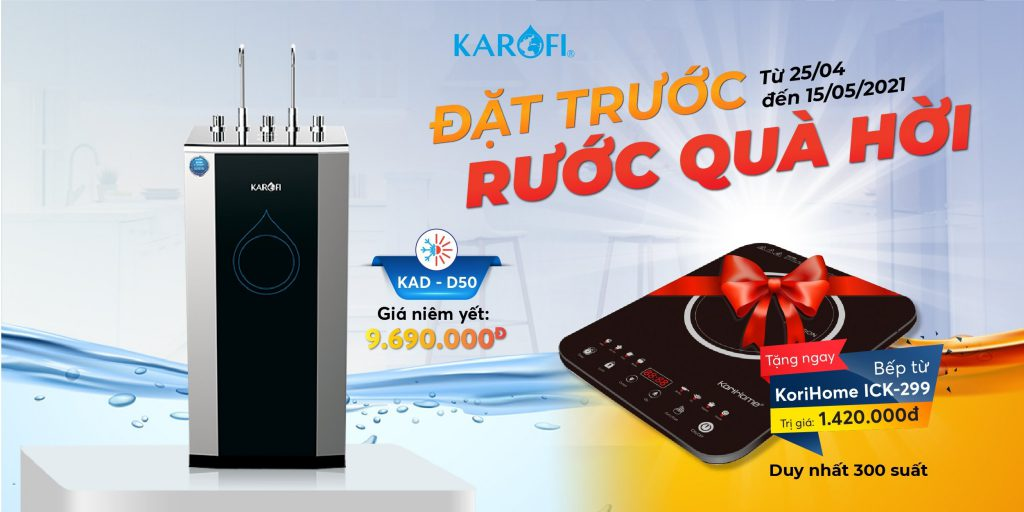 Tặng ngay bếp từ KoriHome 1,420,000đ khi đặt trước máy nước nóng lạnh karofi d50