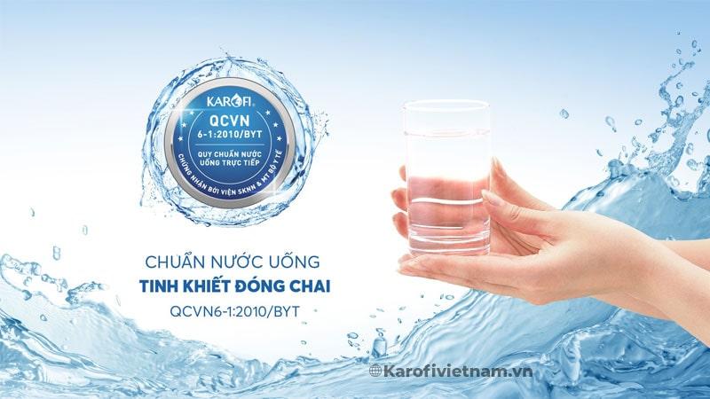 Nước sau lọc đạt chuẩn nước uống tinh khiết đóng chai QCVN 6-1:2010 BYT
